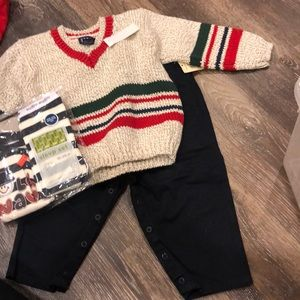 Baby boy large 12 M outfit and pj set